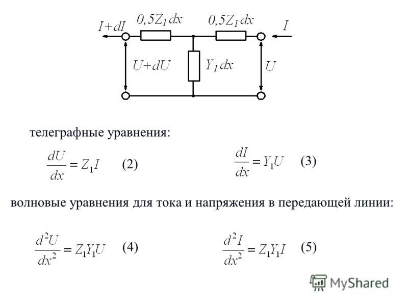 3 (2) телеграфные уравнения: (3) (4) волновые уравнения для тока и напряжения в передающей линии: (5)