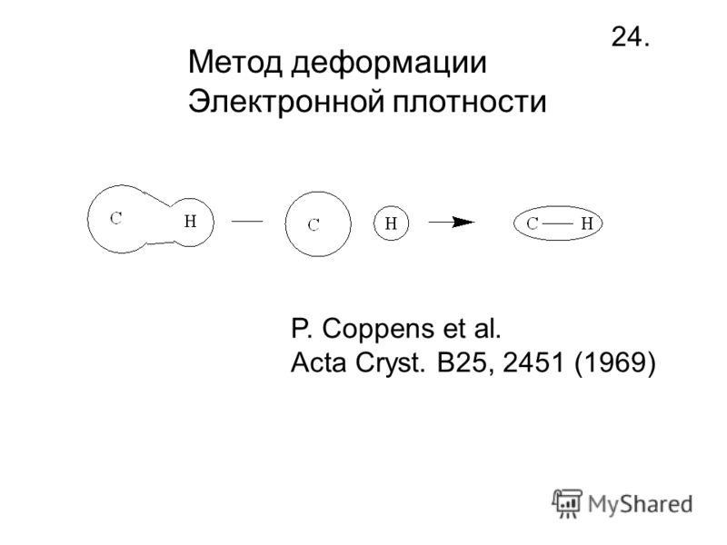 Метод деформации Электронной плотности 24. P. Coppens et al. Acta Cryst. B25, 2451 (1969)