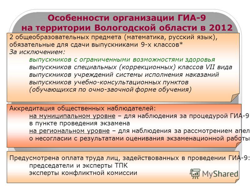 * Особенности организации ГИА-9 на территории Вологодской области в 2012 году 2 общеобразовательных предмета (математика, русский язык), обязательные для сдачи выпускниками 9-х классов* За исключением: выпускников с ограниченными возможностями здоров