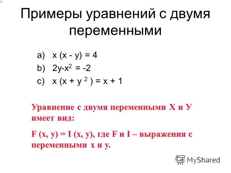 Примеры уравнений с двумя переменными a)х (x - y) = 4 b)2y-x 2 = -2 c)х (x + y 2 ) = x + 1 Уравнение с двумя переменными Х и У имеет вид: F (x, y) = I (x, y), где F и I – выражения с переменными x и y.
