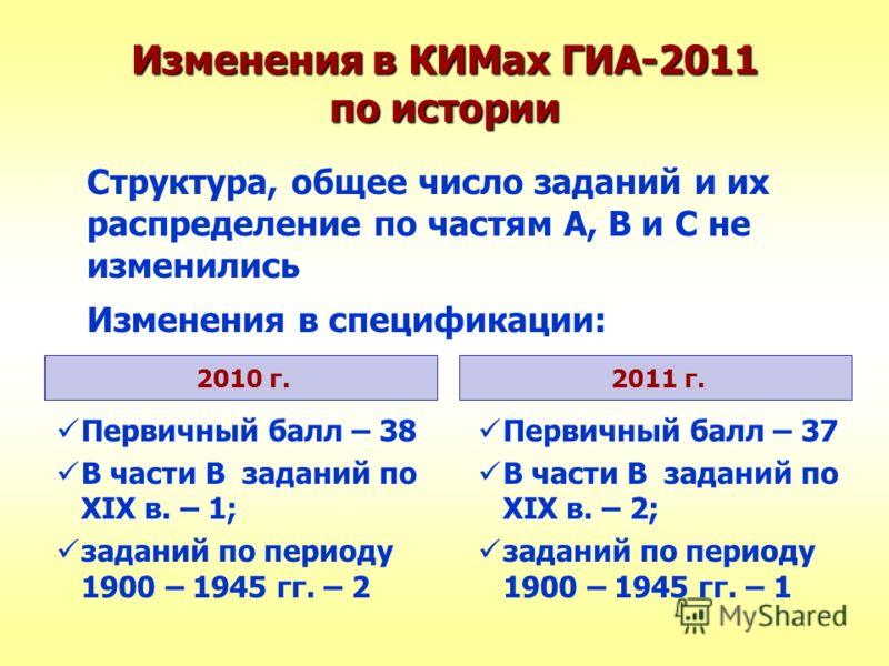 Изменения в КИМах ГИА-2011 по истории Структура, общее число заданий и их распределение по частям А, В и С не изменились Изменения в спецификации: 2010 г.2011 г. Первичный балл – 38 В части В заданий по XIX в. – 1; заданий по периоду 1900 – 1945 гг.