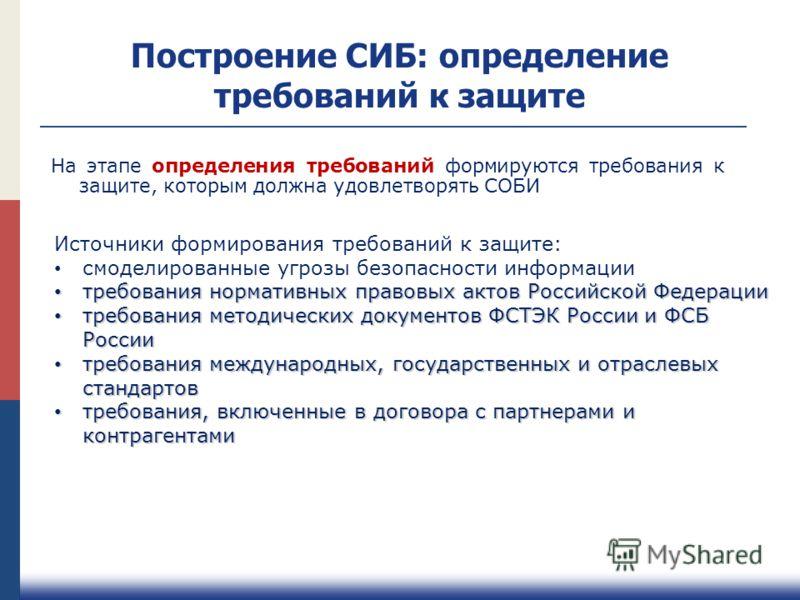 Построение СИБ: определение требований к защите Источники формирования требований к защите: смоделированные угрозы безопасности информации требования нормативных правовых актов Российской Федерации требования нормативных правовых актов Российской Фед