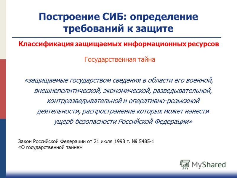 Построение СИБ: определение требований к защите «защищаемые государством сведения в области его военной, внешнеполитической, экономической, разведыват