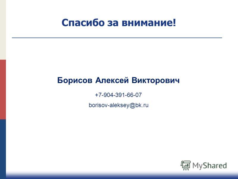Борисов Алексей Викторович +7-904-391-66-07 borisov-aleksey@bk.ru Спасибо за внимание!