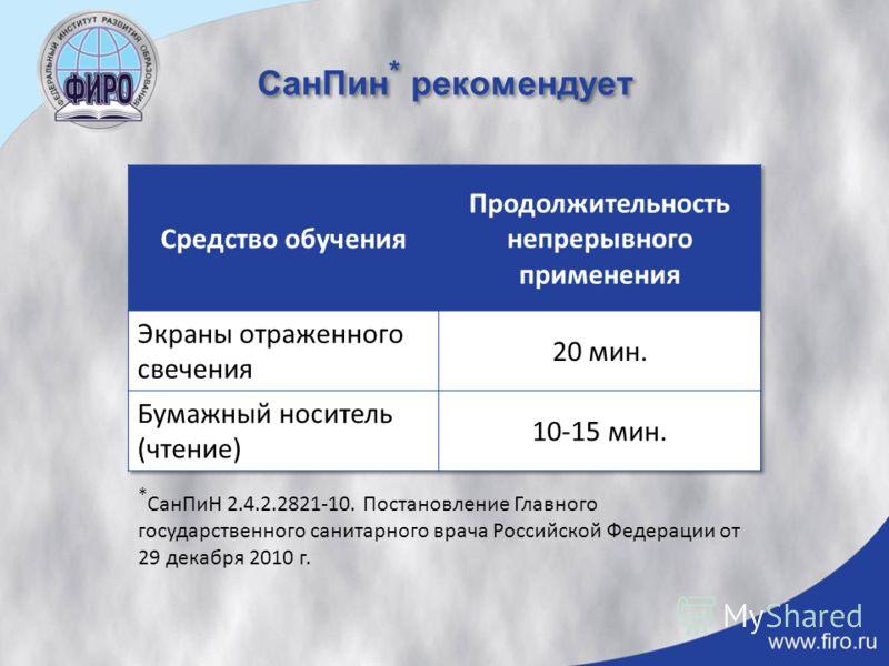 СанПин * рекомендует * СанПиН 2.4.2.2821-10. Постановление Главного государственного санитарного врача Российской Федерации от 29 декабря 2010 г.