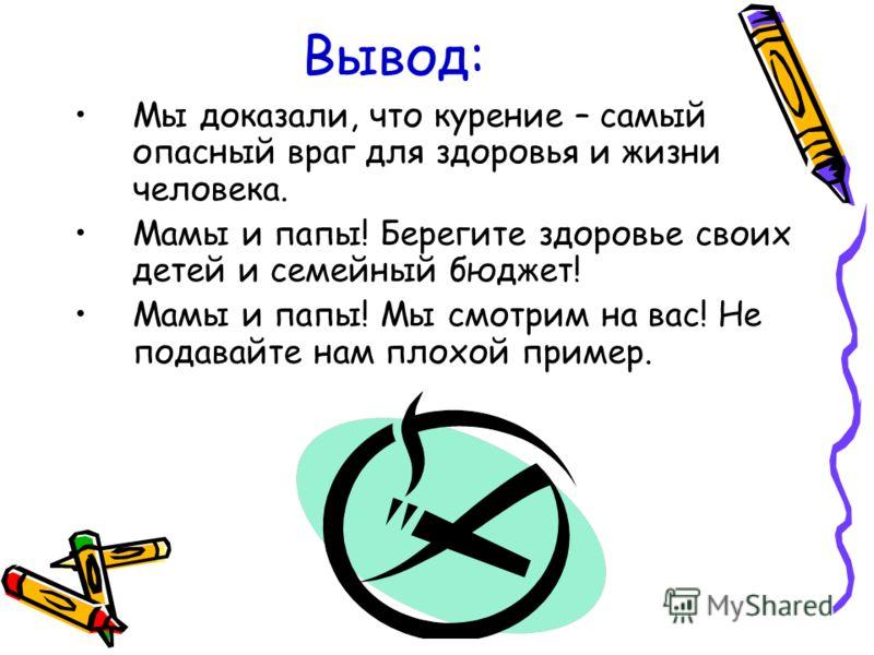 Вывод: Мы доказали, что курение – самый опасный враг для здоровья и жизни человека. Мамы и папы! Берегите здоровье своих детей и семейный бюджет! Мамы и папы! Мы смотрим на вас! Не подавайте нам плохой пример.