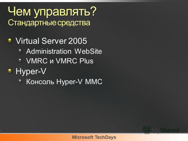 Чем управлять? Стандартные средства Virtual Server 2005 Administration WebSite VMRC и VMRC Plus Hyper-V Консоль Hyper-V MMC