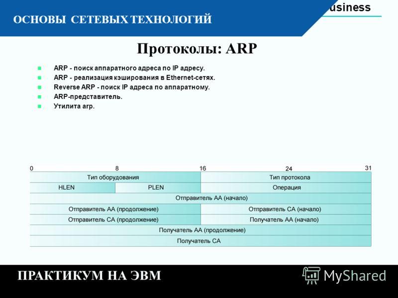 Automation Business 11 - 18 К ОСНОВЫ СЕТЕВЫХ ТЕХНОЛОГИЙ ПРАКТИКУМ НА ЭВМ Протоколы: ARP ARP - поиск аппаратного адреса по IP адресу. ARP - реализация кэширования в Ethernet-сетях. Reverse ARP - поиск IP адреса по аппаратному. ARP-представитель. Утили