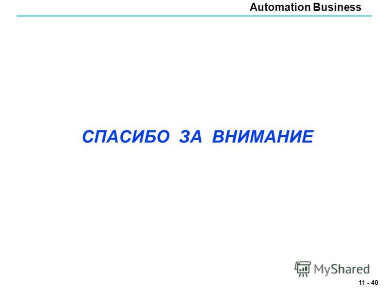 Automation Business 11 - 40 СПАСИБО ЗА ВНИМАНИЕ