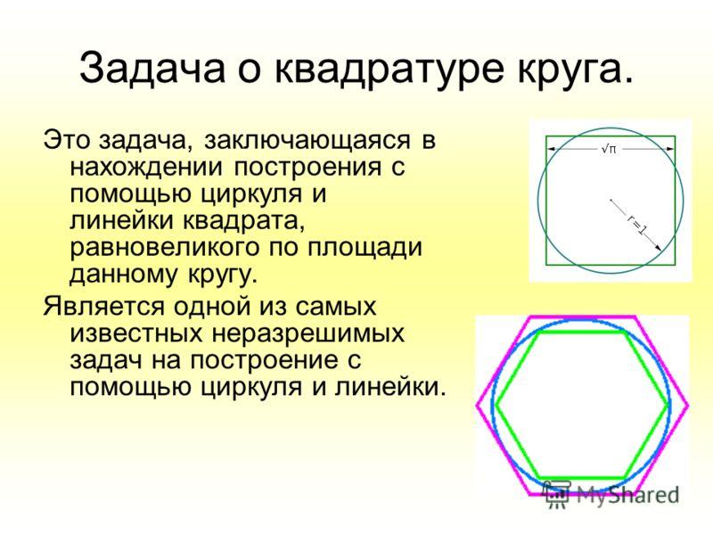 Задача о квадратуре круга. Это задача, заключающаяся в нахождении построения с помощью циркуля и линейки квадрата, равновеликого по площади данному кругу. Является одной из самых известных неразрешимых задач на построение с помощью циркуля и линейки.