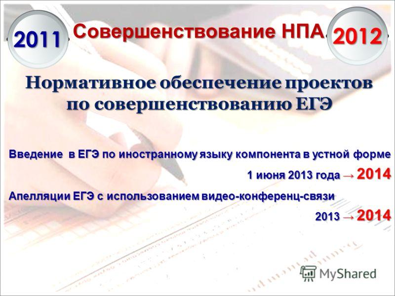 Совершенствование НПА 2011 2012 Нормативное обеспечение проектов по совершенствованию ЕГЭ Введение в ЕГЭ по иностранному языку компонента в устной форме 1 июня 2013 года 2014 Апелляции ЕГЭ с использованием видео-конференц-связи 2013 2014
