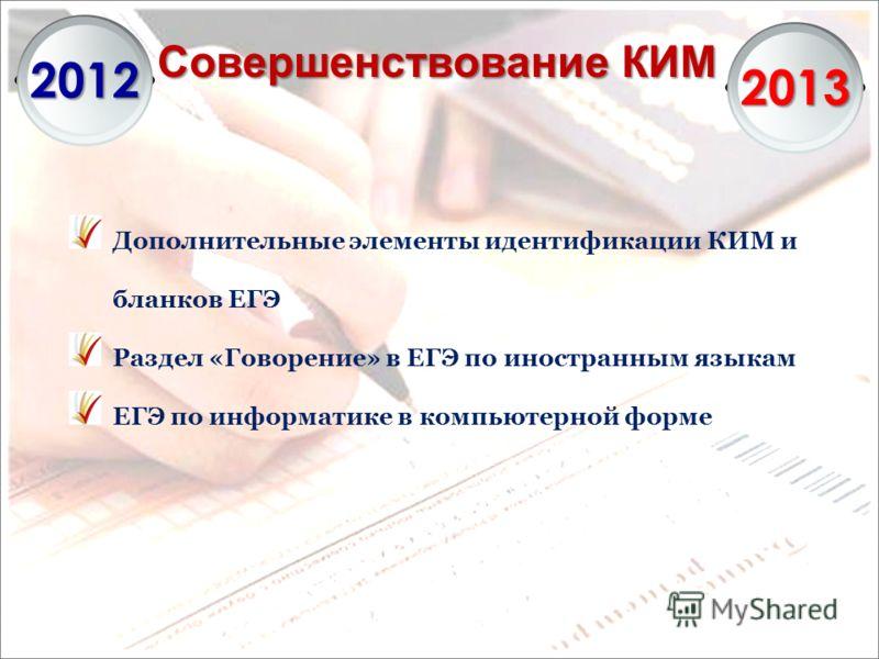 Совершенствование КИМ 2012 2013 Дополнительные элементы идентификации КИМ и бланков ЕГЭ Раздел «Говорение» в ЕГЭ по иностранным языкам ЕГЭ по информатике в компьютерной форме