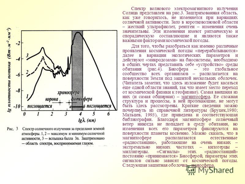 Спектр волнового электромагнитного излучения Солнца представлен на рис.3. Заштрихованная область, как уже говорилось, не изменяется при вариациях солнечной активности. Зато в коротковолновой области – жесткий ультрафиолет, рентген – изменения очень з