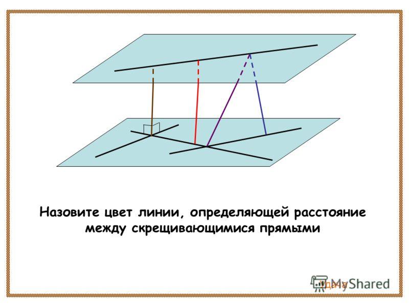 Назовите цвет линии, определяющей расстояние между скрещивающимися прямыми Удача