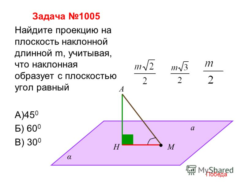Задача 1005 Найдите проекцию на плоскость наклонной длинной m, учитывая, что наклонная образует с плоскостью угол равный А)45 0 Б) 60 0 В) 30 0 а А НМ α Победа