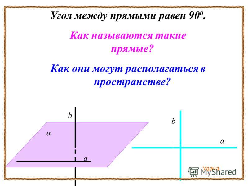 Угол между прямыми равен 90 0. Как называются такие прямые? Как они могут располагаться в пространстве? α а а b b