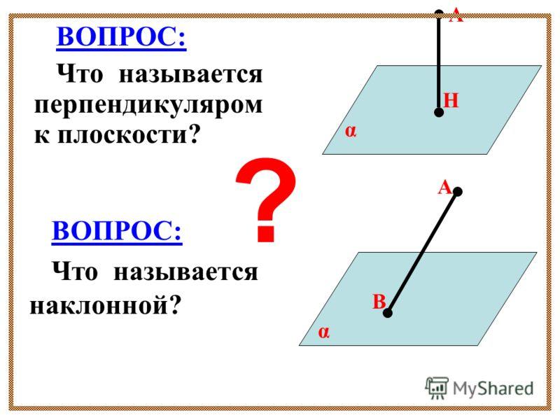 ВОПРОС: Что называется перпендикуляром к плоскости? А Н α А В α ВОПРОС: Что называется наклонной? ?