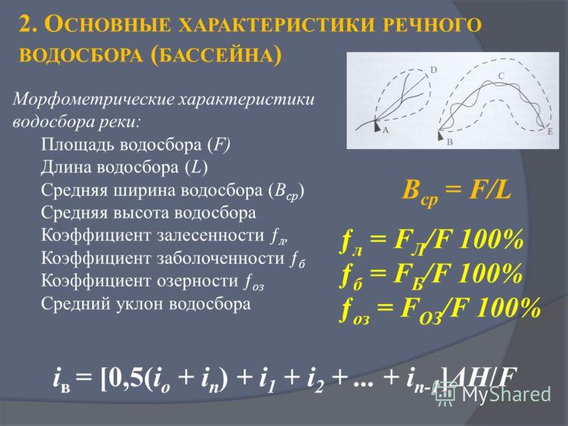 2. О СНОВНЫЕ ХАРАКТЕРИСТИКИ РЕЧНОГО ВОДОСБОРА ( БАССЕЙНА ) Морфометрические характеристики водосбора реки: Площадь водосбора (F) Длина водосбора (L) Средняя ширина водосбора (В ср ) Средняя высота водосбора Коэффициент залесенности ƒ л, Коэффициент з