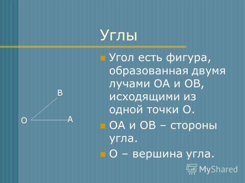 Углы Угол есть фигура, образованная двумя лучами ОА и ОВ, исходящими из одной точки О. ОА и ОВ – стороны угла. О – вершина угла. В А О