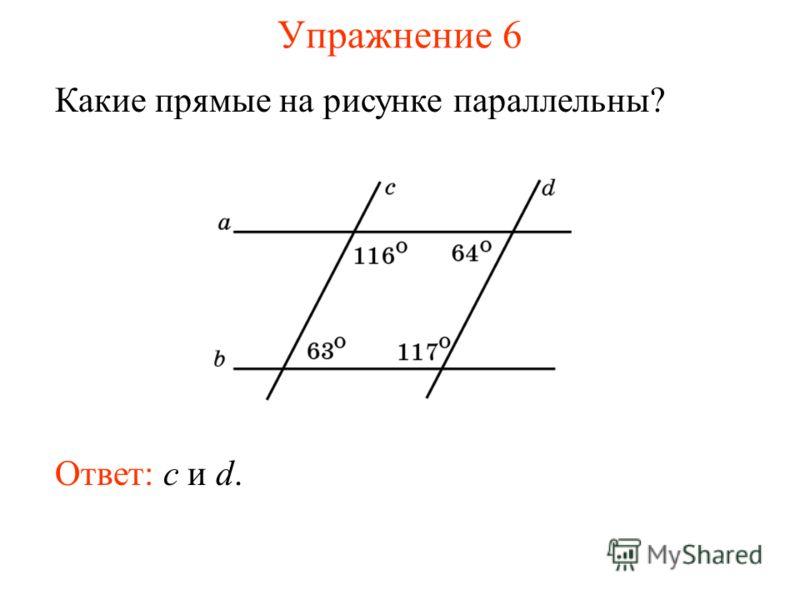 Упражнение 6 Какие прямые на рисунке параллельны? Ответ: c и d.