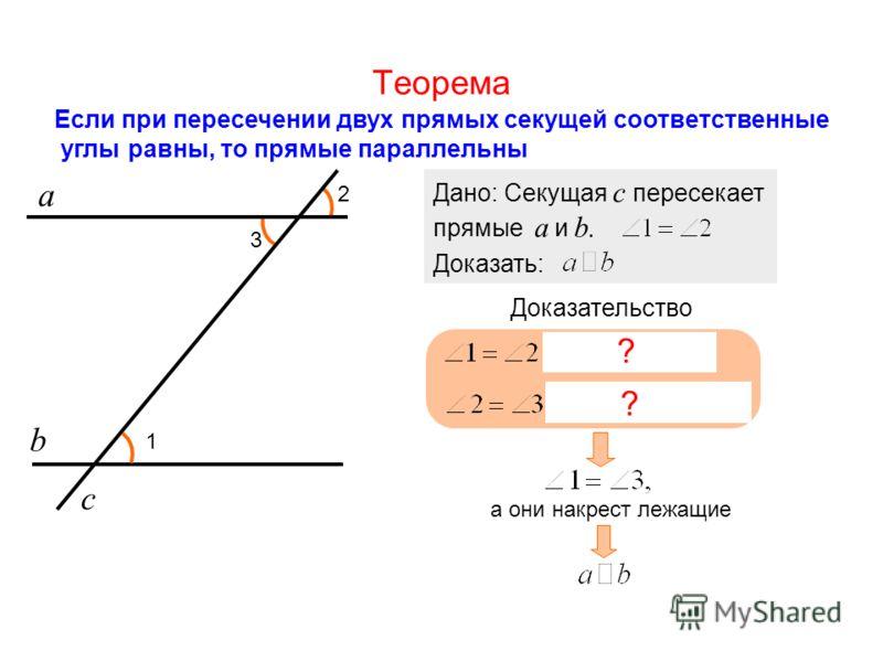 Теорема Если при пересечении двух прямых секущей соответственные углы равны, то прямые параллельны а b 1 2 Дано: Секущая с пересекает прямые a и b. Доказать: Доказательство с 3 ? ? а они накрест лежащие
