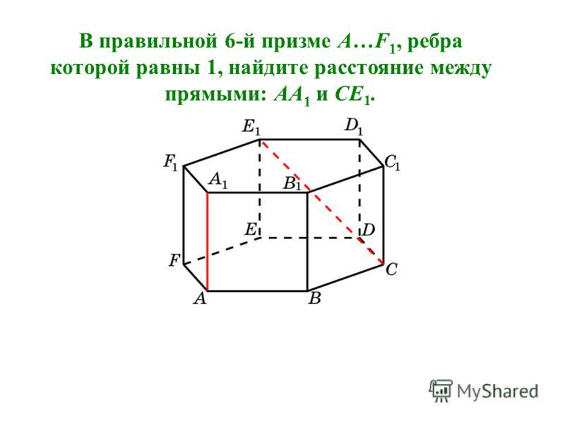 В правильной 6-й призме A…F 1, ребра которой равны 1, найдите расстояние между прямыми: AA 1 и CE 1.