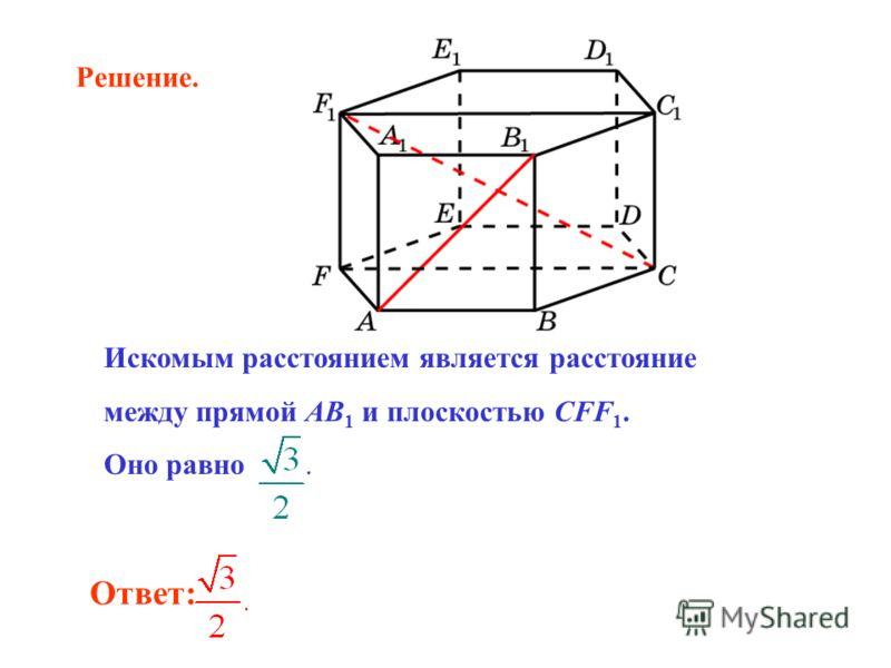 Ответ: Искомым расстоянием является расстояние между прямой AB 1 и плоскостью CFF 1. Оно равно. Решение.