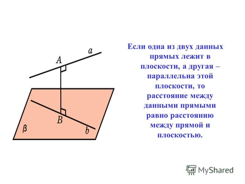Если одна из двух данных прямых лежит в плоскости, а другая – параллельна этой плоскости, то расстояние между данными прямыми равно расстоянию между прямой и плоскостью.