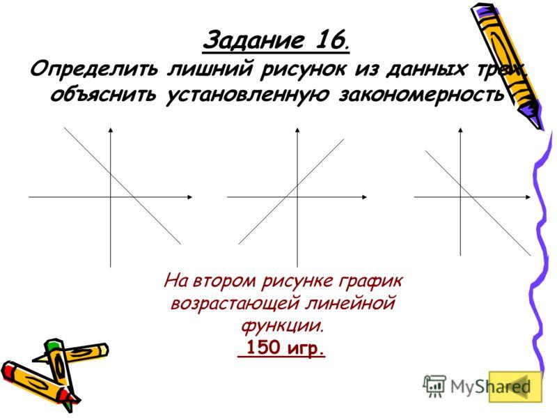 Задание 16. Определить лишний рисунок из данных трех, объяснить установленную закономерность На втором рисунке график возрастающей линейной функции. 150 игр.