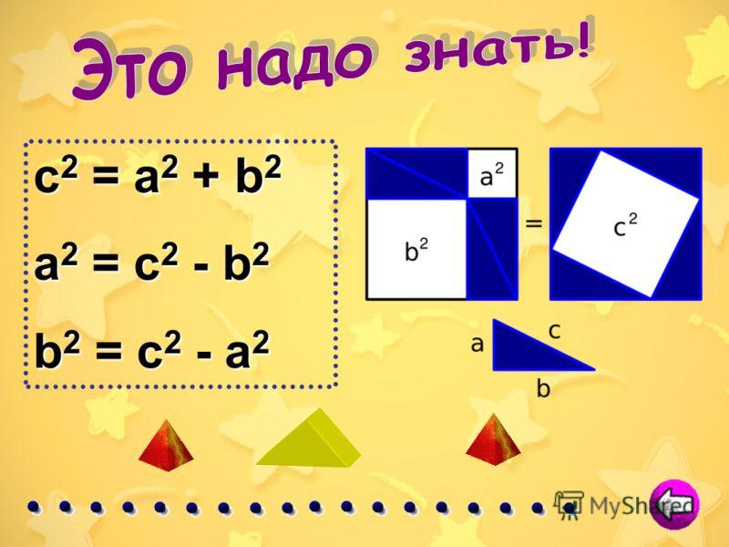 Изначально теорема была сформулирована следующим образом: В прямоугольном треугольнике площадь квадрата, построенного на гипотенузе, равна сумме площадей квадратов, построенных на катетах. В прямоугольном треугольнике квадрат гипотенузы равен сумме к