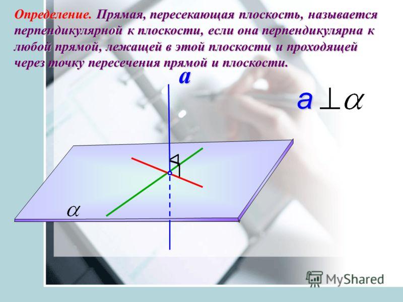 Определение. Прямая, пересекающая плоскость, называется перпендикулярной к плоскости, если она перпендикулярна к любой прямой, лежащей в этой плоскости и проходящей через точку пересечения прямой и плоскости. a a