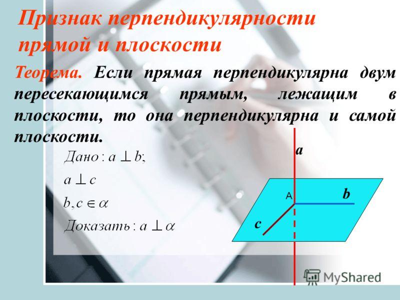 Признак перпендикулярности прямой и плоскости Теорема. Если прямая перпендикулярна двум пересекающимся прямым, лежащим в плоскости, то она перпендикулярна и самой плоскости. а b с А