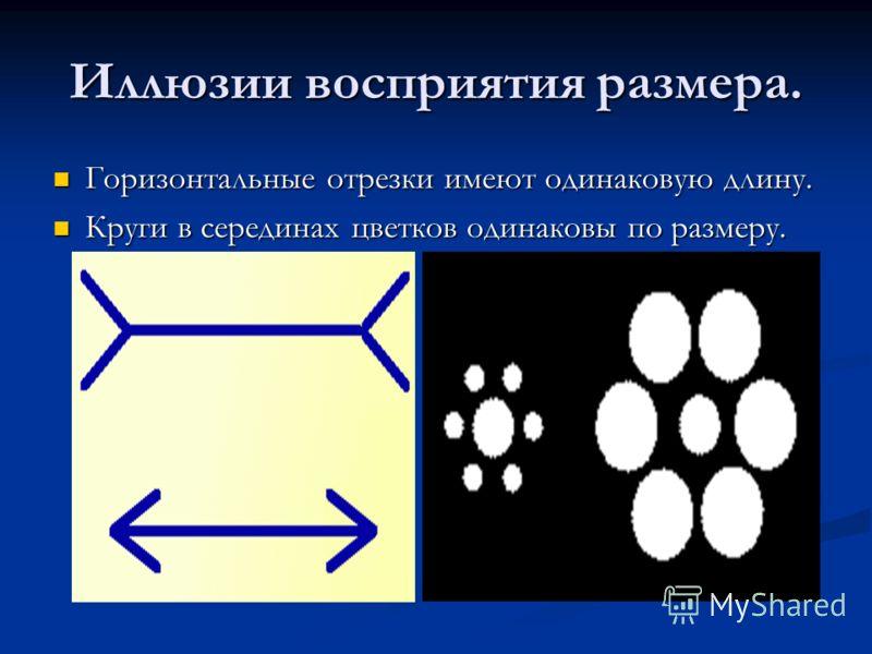 Иллюзии восприятия размера. Горизонтальные отрезки имеют одинаковую длину. Горизонтальные отрезки имеют одинаковую длину. Круги в серединах цветков одинаковы по размеру. Круги в серединах цветков одинаковы по размеру.
