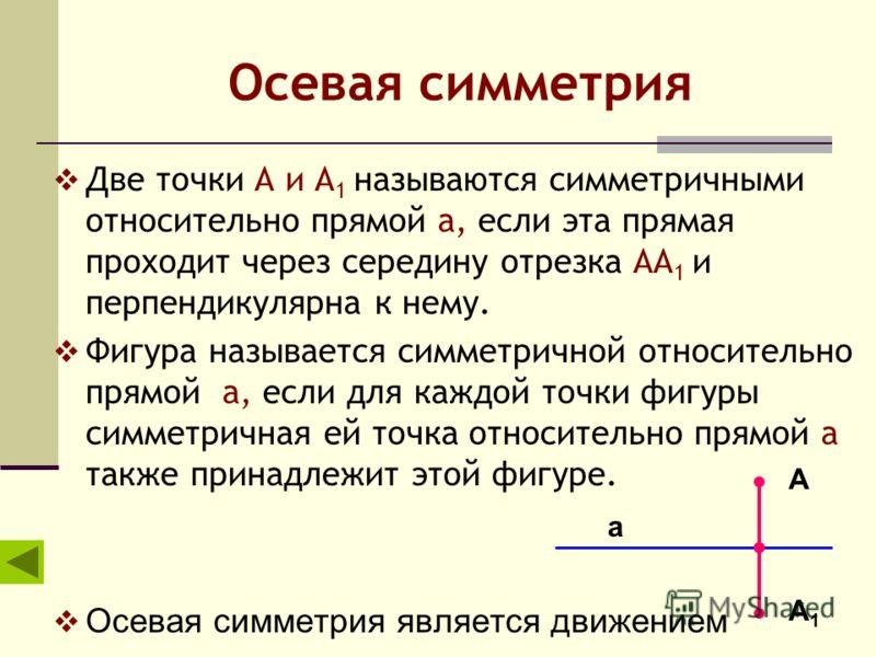 Осевая симметрия Две точки А и А 1 называются симметричными относительно прямой а, если эта прямая проходит через середину отрезка АА 1 и перпендикулярна к нему. Фигура называется симметричной относительно прямой а, если для каждой точки фигуры симме