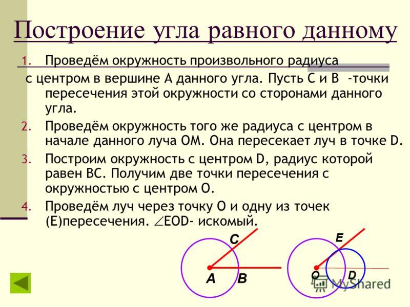 Построение угла равного данному 1. Проведём окружность произвольного радиуса с центром в вершине А данного угла. Пусть С и В -точки пересечения этой окружности со сторонами данного угла. 2. Проведём окружность того же радиуса с центром в начале данно
