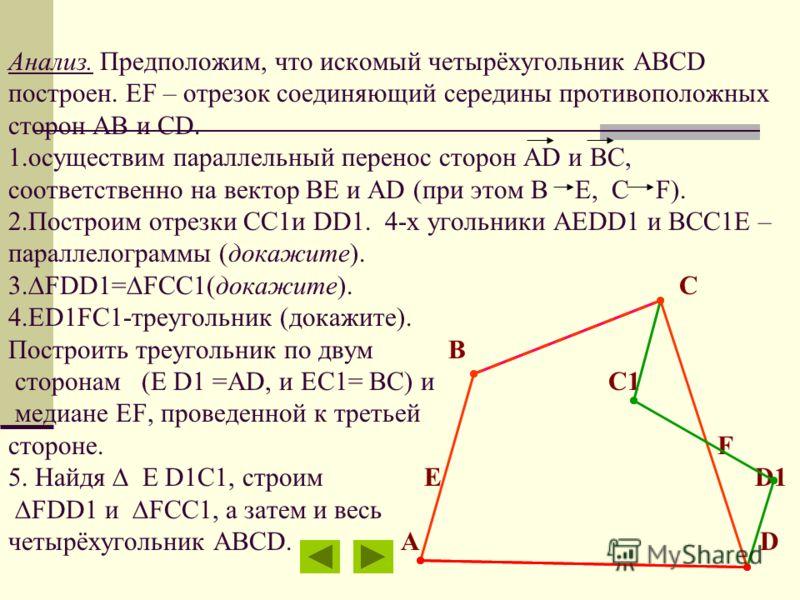 Анализ. Предположим, что искомый четырёхугольник ABCD построен. EF – отрезок соединяющий середины противоположных сторон АВ и CD. 1.осуществим параллельный перенос сторон АD и BС, соответственно на вектор ВЕ и АD (при этом B E, C F). 2.Построим отрез