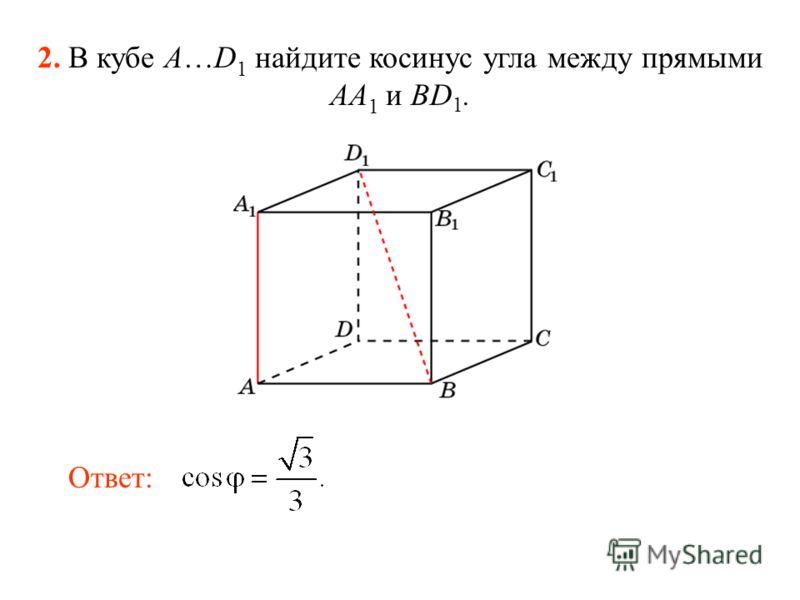 2. В кубе A…D 1 найдите косинус угла между прямыми AA 1 и BD 1. Ответ: