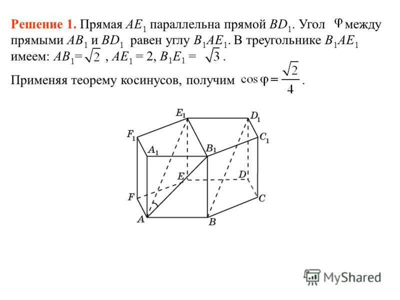 Решение 1. Прямая AE 1 параллельна прямой BD 1. Угол между прямыми AB 1 и BD 1 равен углу B 1 AE 1. В треугольнике B 1 AE 1 имеем: AB 1 =, AE 1 = 2, B 1 E 1 =. Применяя теорему косинусов, получим.