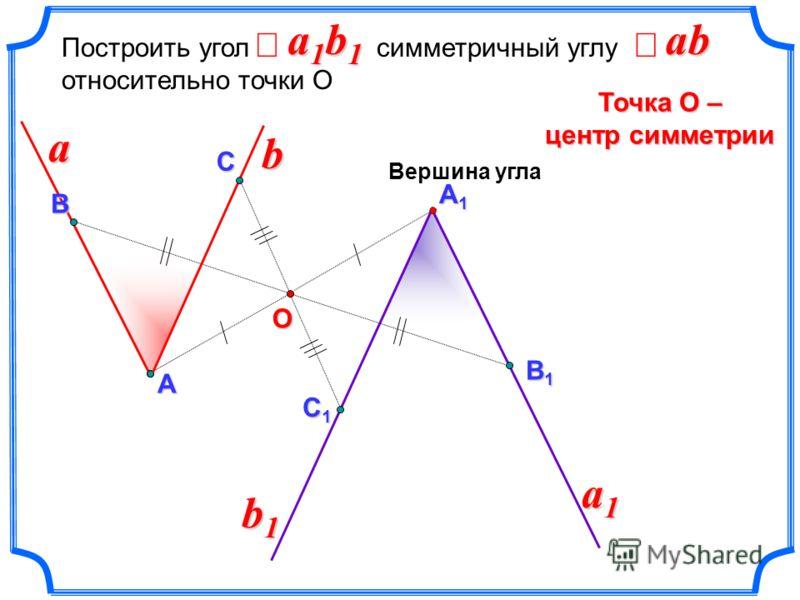 А1А1А1А1 Построить угол симметричный углу относительно точки О Точка О – центр симметрии В В1В1В1В1 a1b1a1b1a1b1a1b1Аa a1a1a1a1 Вершина угла ab b b1b1b1b1 C C1 C1 C1 C1 О