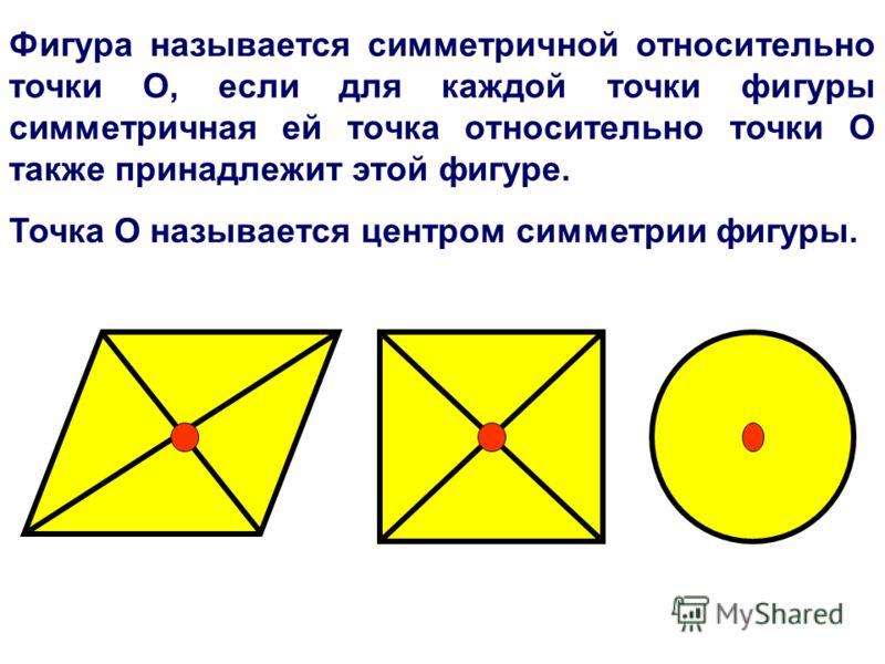 Фигура называется симметричной относительно точки О, если для каждой точки фигуры симметричная ей точка относительно точки О также принадлежит этой фигуре. Точка О называется центром симметрии фигуры.