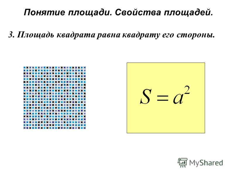 Понятие площади. Свойства площадей. 3. Площадь квадрата равна квадрату его стороны.