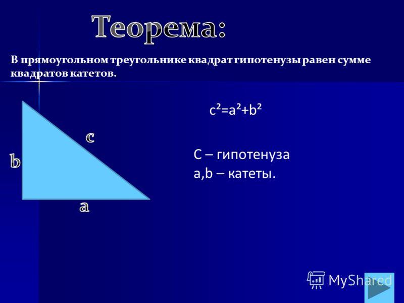В прямоугольном треугольнике квадрат гипотенузы равен сумме квадратов катетов. c²=a²+b² С – гипотенуза a,b – катеты.