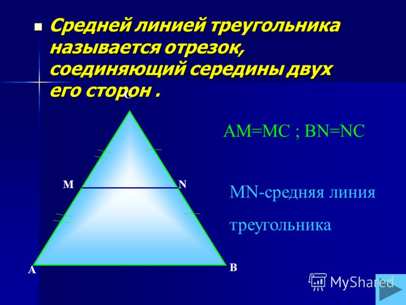 Средней линией треугольника называется отрезок, соединяющий середины двух его сторон. Средней линией треугольника называется отрезок, соединяющий середины двух его сторон. А В С МN AM=MC ; BN=NC MN-средняя линия треугольника