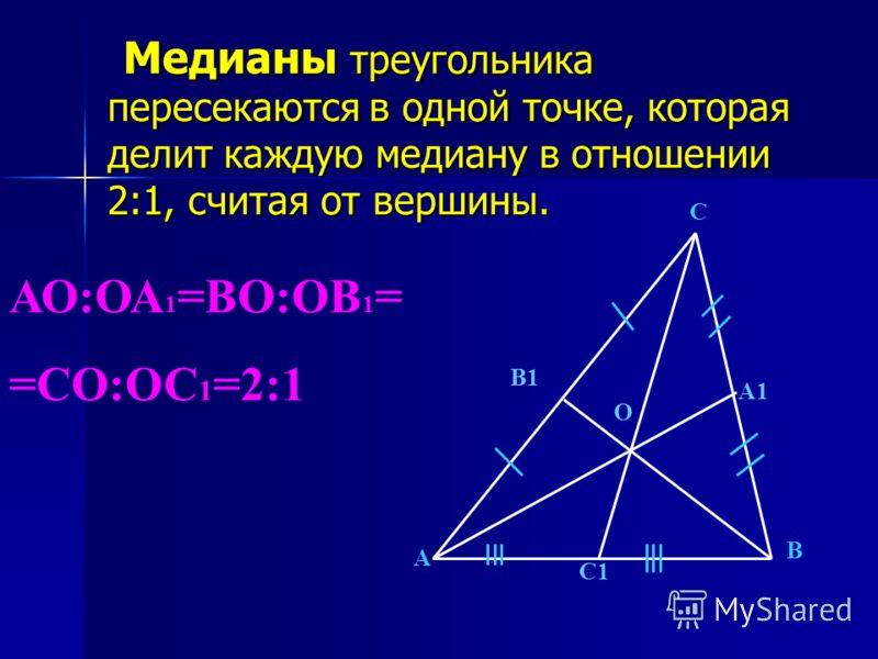 Медианы треугольника пересекаются в одной точке, которая делит каждую медиану в отношении 2:1, считая от вершины. Медианы треугольника пересекаются в одной точке, которая делит каждую медиану в отношении 2:1, считая от вершины. А В С С1 В1 А1 О АО:ОА