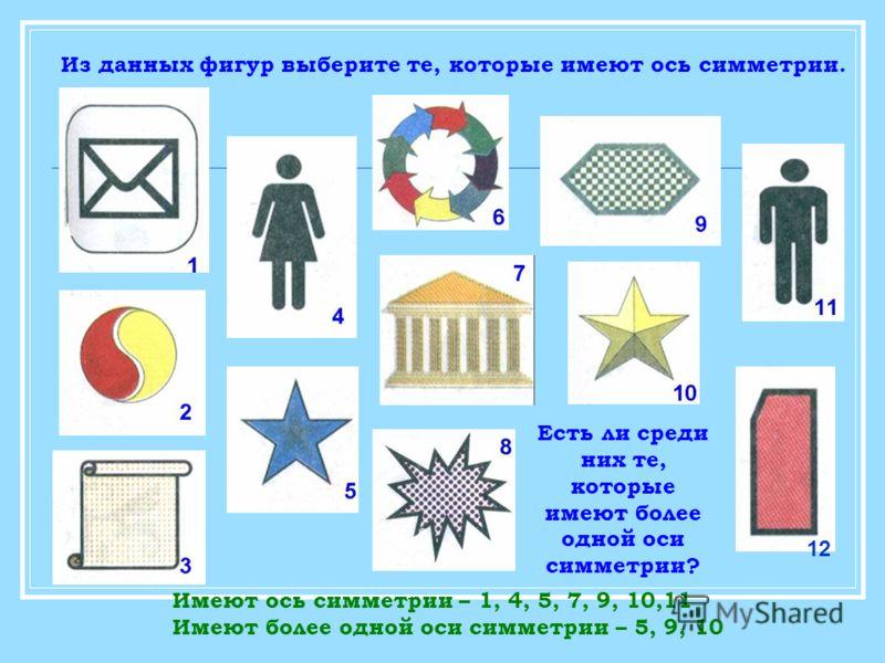 Из данных фигур выберите те, которые имеют ось симметрии. Есть ли среди них те, которые имеют более одной оси симметрии? Имеют ось симметрии – 1, 4, 5, 7, 9, 10,11 Имеют более одной оси симметрии – 5, 9, 10 12