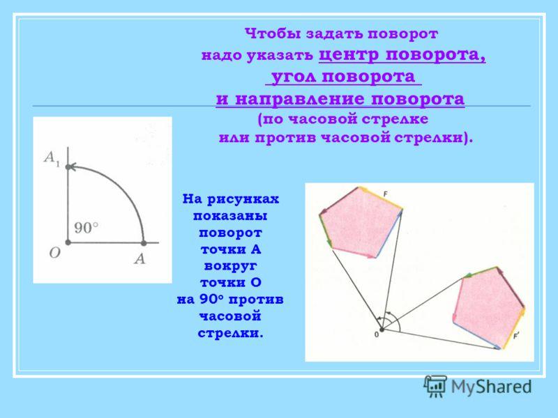 На рисунках показаны поворот точки А вокруг точки О на 90 о против часовой стрелки. Чтобы задать поворот надо указать центр поворота, угол поворота и направление поворота (по часовой стрелке или против часовой стрелки).