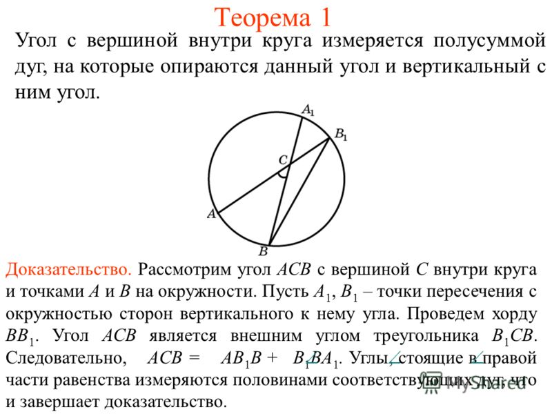 Теорема 1 Угол с вершиной внутри круга измеряется полусуммой дуг, на которые опираются данный угол и вертикальный с ним угол. Доказательство. Рассмотрим угол АСВ с вершиной С внутри круга и точками А и В на окружности. Пусть А 1, В 1 – точки пересече