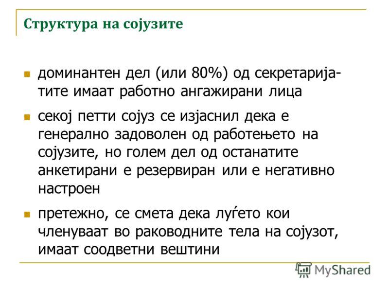 Структура на сојузите доминантен дел (околу 80%) од организациите кои навеле дека членуваат барем во еден сојуз, имаат назначено секретаријат или извршна канцеларија 2/3 од овие канцеларии се наоѓаат во Скопје лидерството во секој втор сојуз е ротира