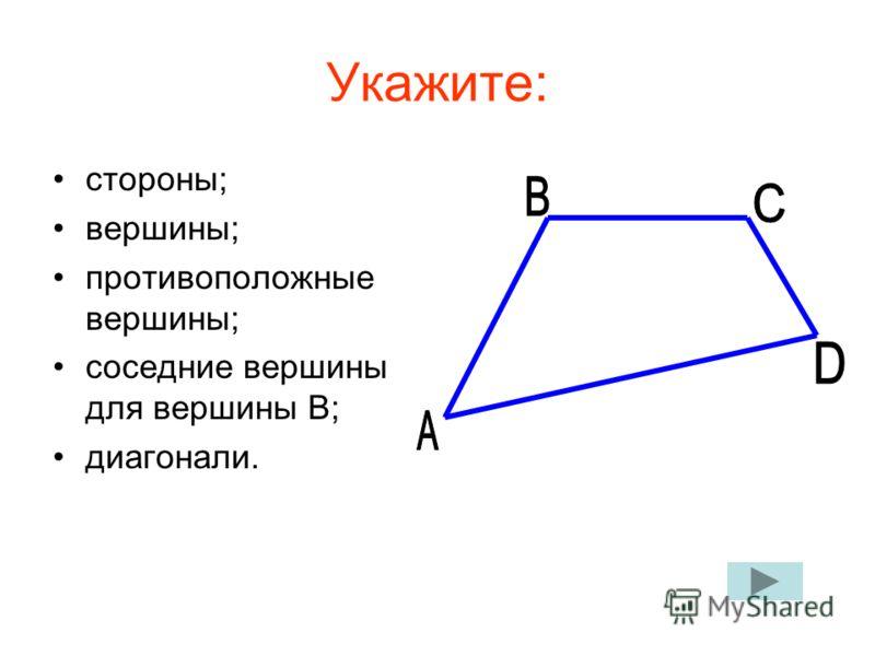 Укажите: стороны; вершины; противоположные вершины; соседние вершины для вершины В; диагонали.