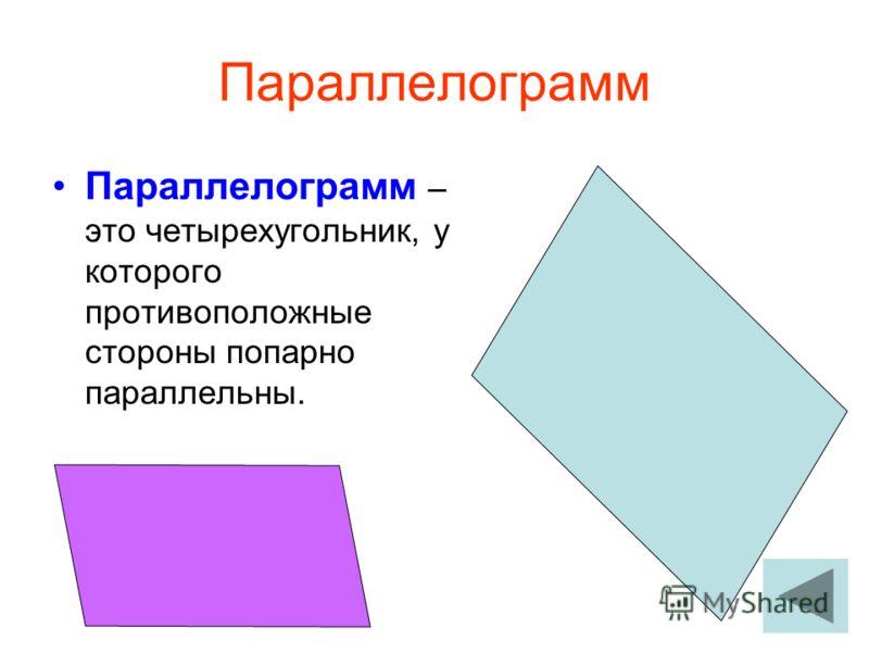 Параллелограмм Параллелограмм – это четырехугольник, у которого противоположные стороны попарно параллельны.